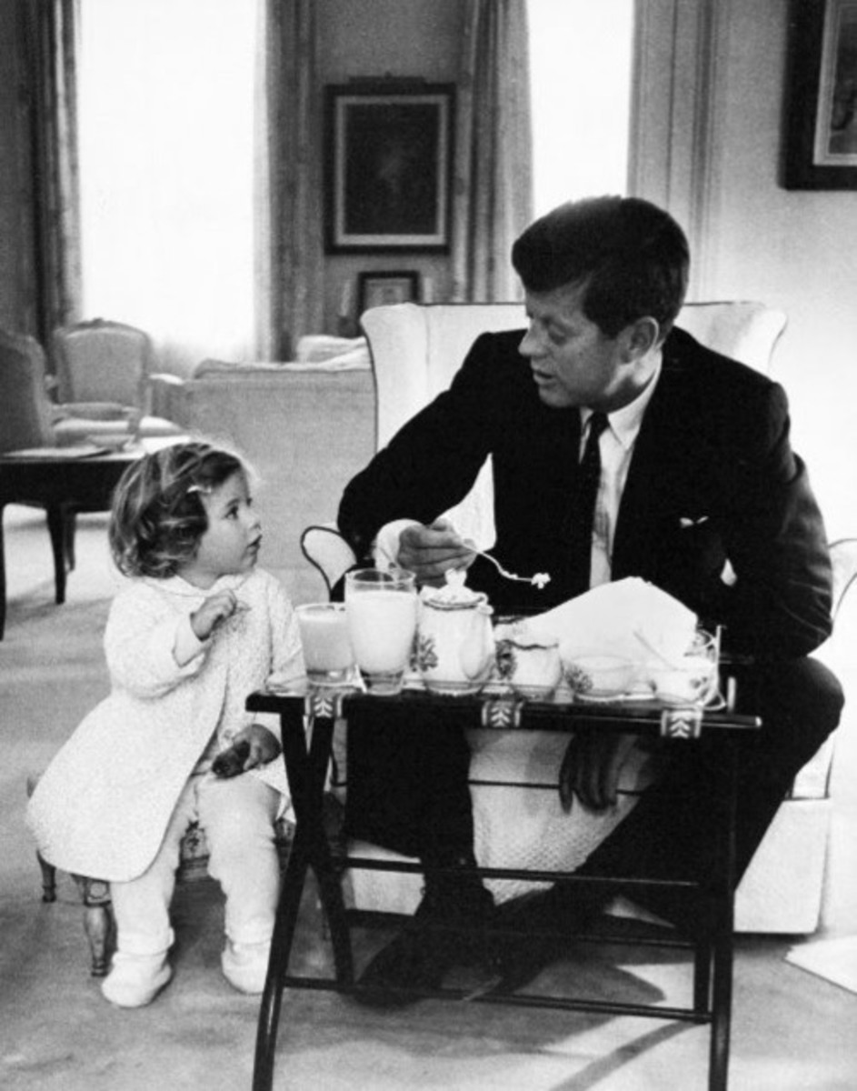 Caroline has a tea party with her father, The President
