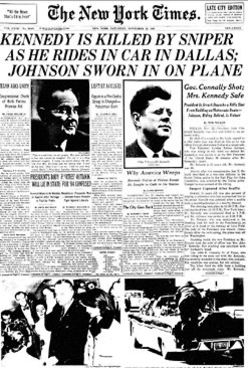 Front Page of The New York Times, November 22, 1963