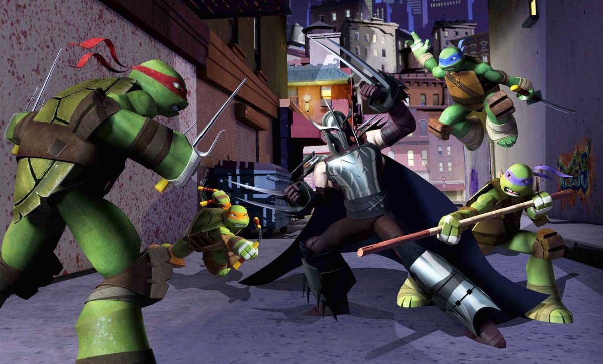 The turtles fighting Shredder