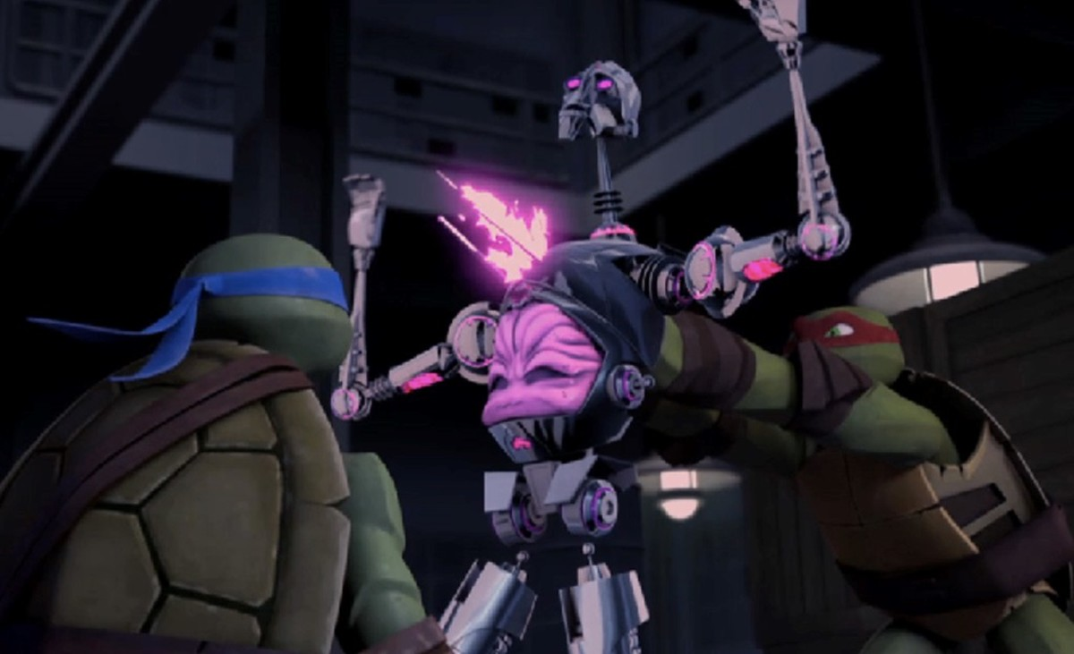 Leonardo and Raphael fighting the Kraang