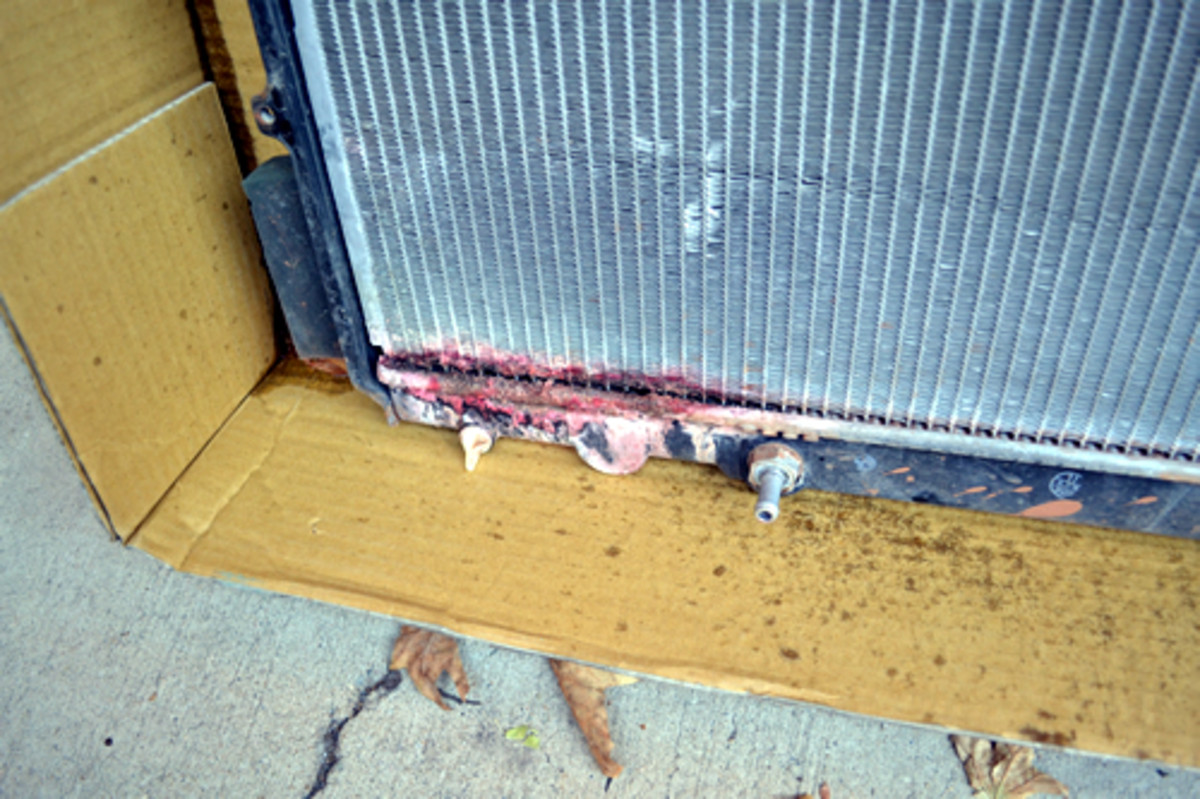 Close up of the slow leak in the old radiator