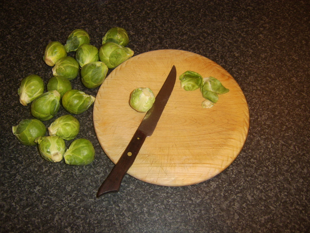 Trimming Brussels sprouts