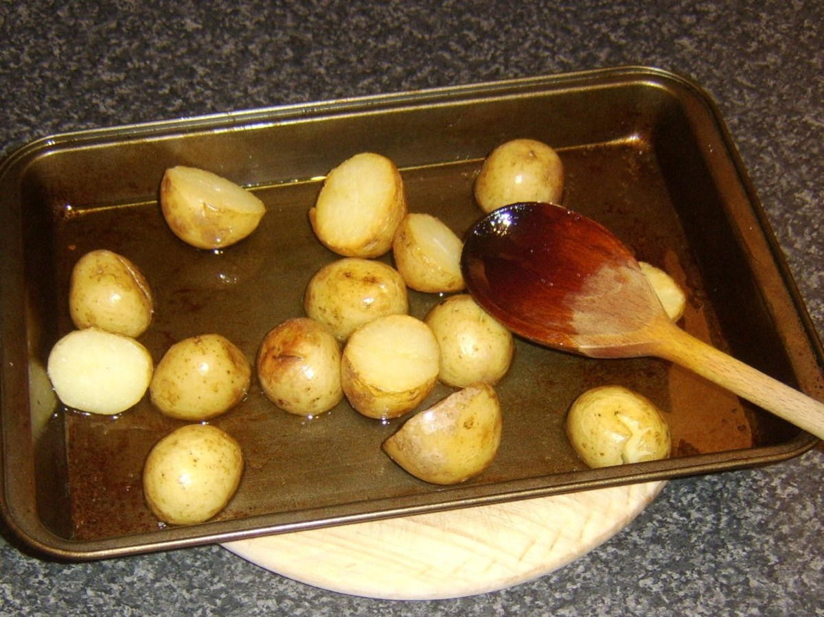 Roasting potatoes in olive oil