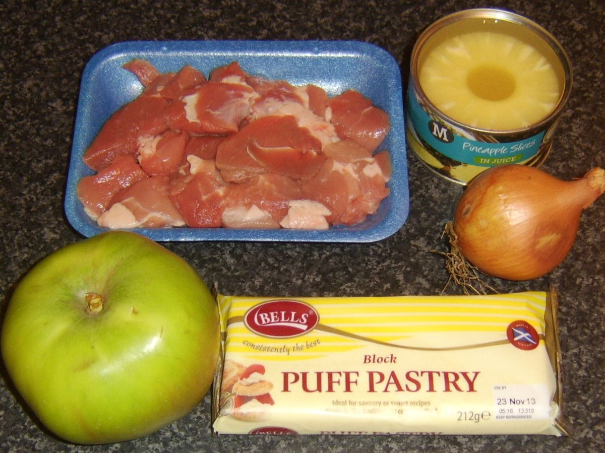 Pork, pineapple and apple pie ingredients