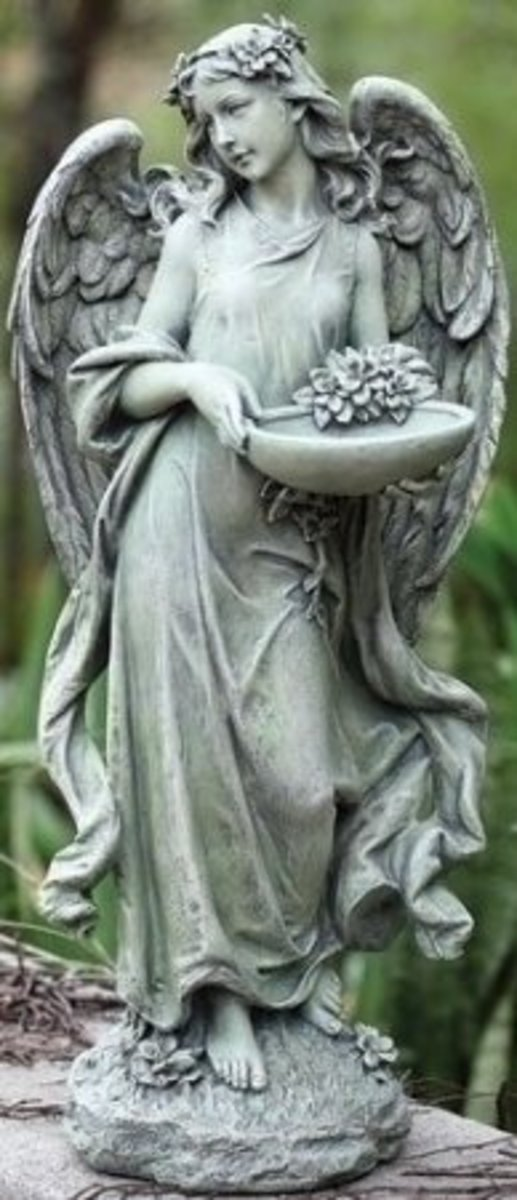 The Angel Holds a Bowl Which Can be Perfect Bird Feeder or Bird Bath