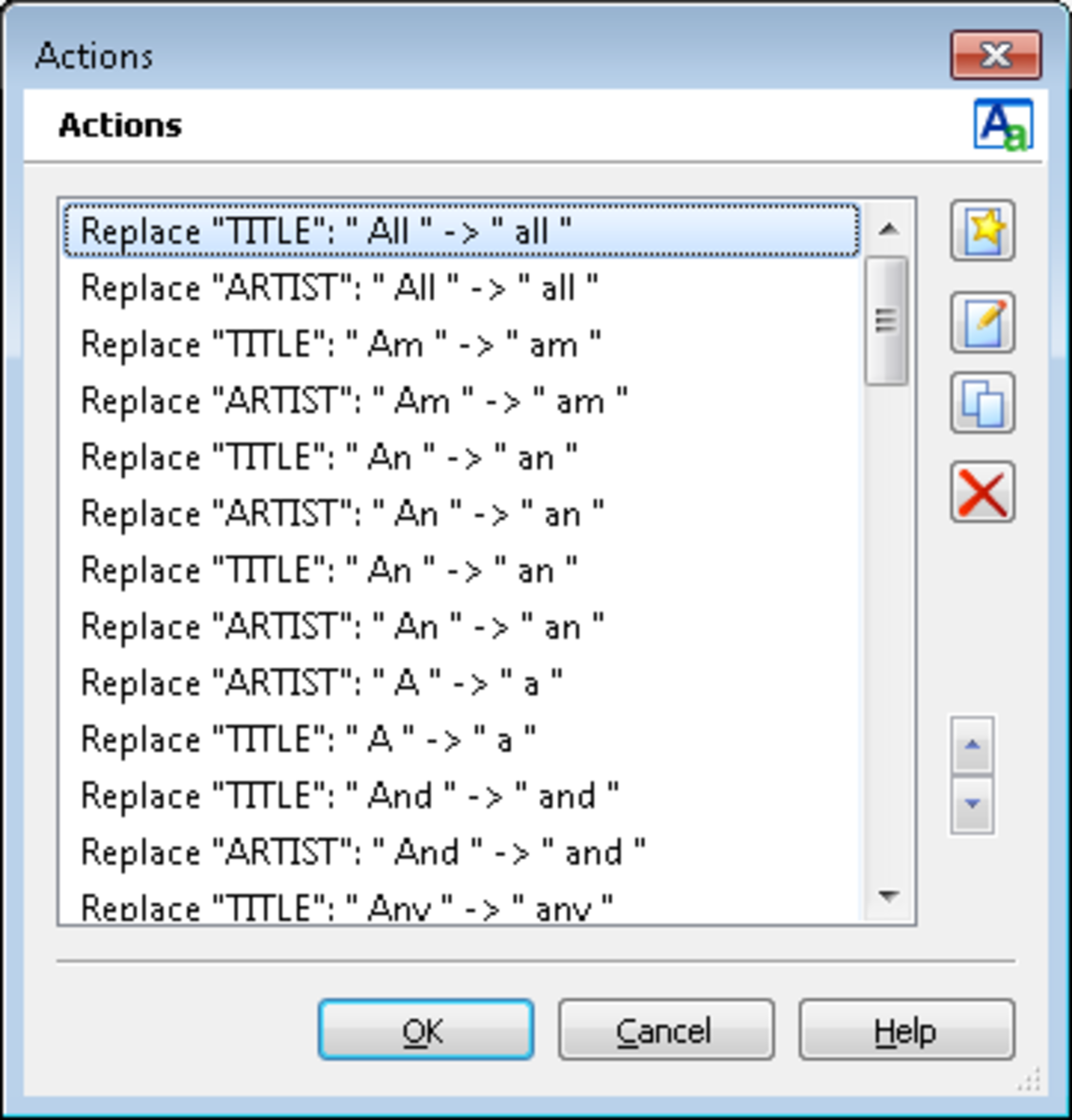 A number of rules or actions created using MP3Tag to convert specific words to lower case.