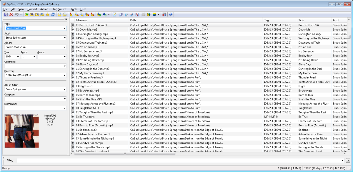 MP3Tag with my music library loaded, ready to make rules (or actions) to tidy up the metadata tags.
