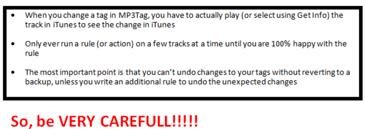 Before we start using MP3Tag, remember to be very careful as mistakes can be difficult to undo.