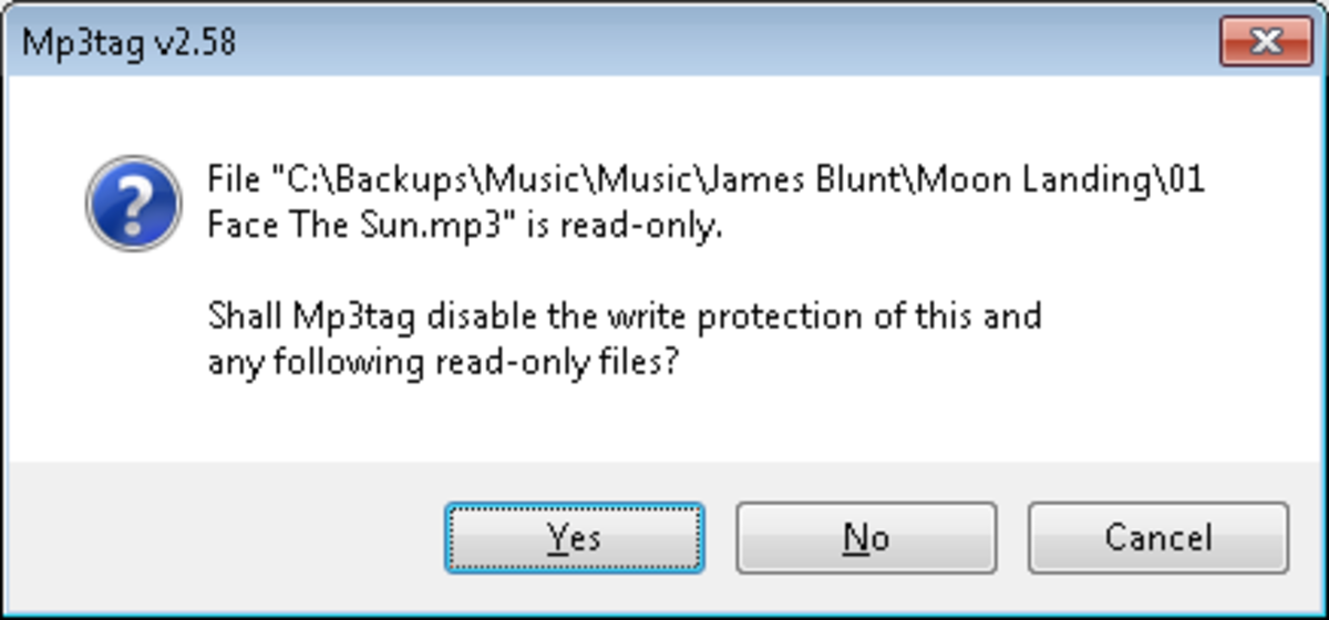 Warning received if your music is read only, MP3Tag will correct this for you.