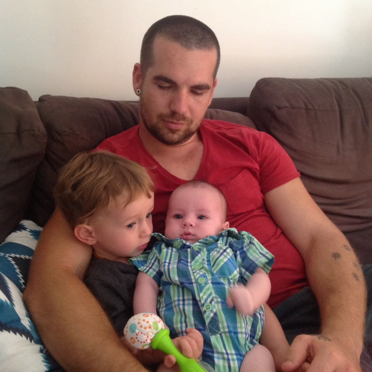 Jared (now a personal fitness trainer) with his two youngest sons Jordan and Dylan