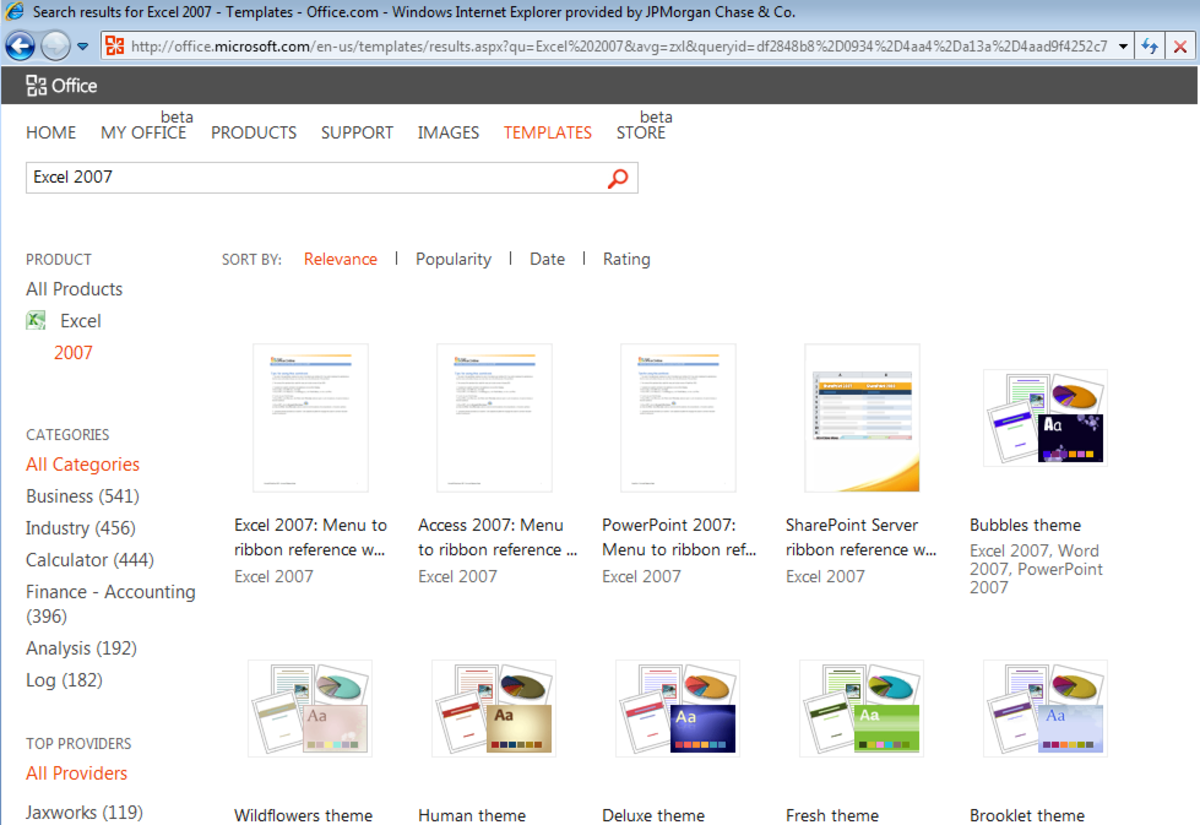 A selection of the templates available for Excel 2007 on Office.Microsoft.com.
