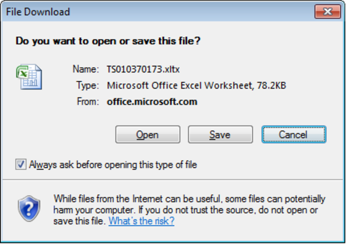 Save an online template to your computer so that you can use it in the future from your copy of Excel 2007.