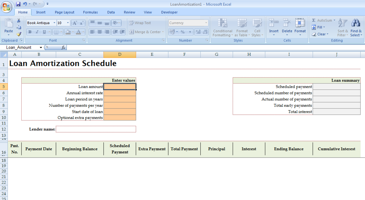 Built in Amortisation template opened in Excel 2007.
