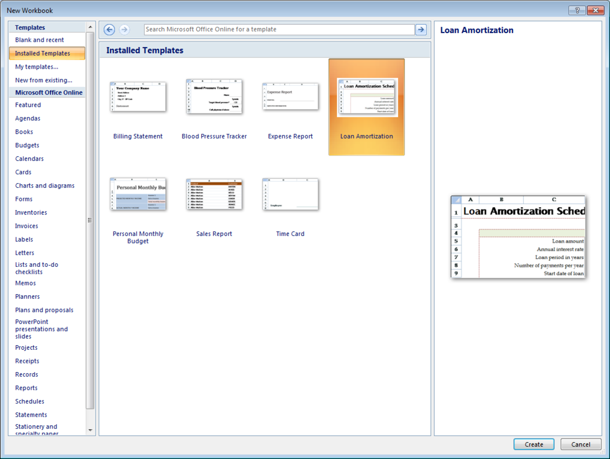 Examples of built in templates available in Excel 2007.
