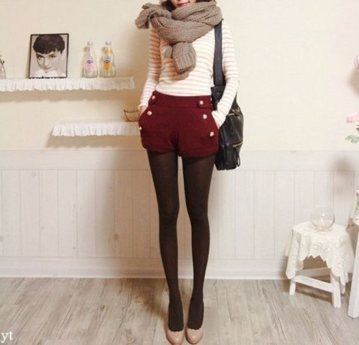 Shorts, Tights, Opaque Tights, Maroon, Gold, Gold Buttons, Nude Pumps, Big Scarf, Stripes, Vintage, Fashion, Fashion Forward, Fall, Winter