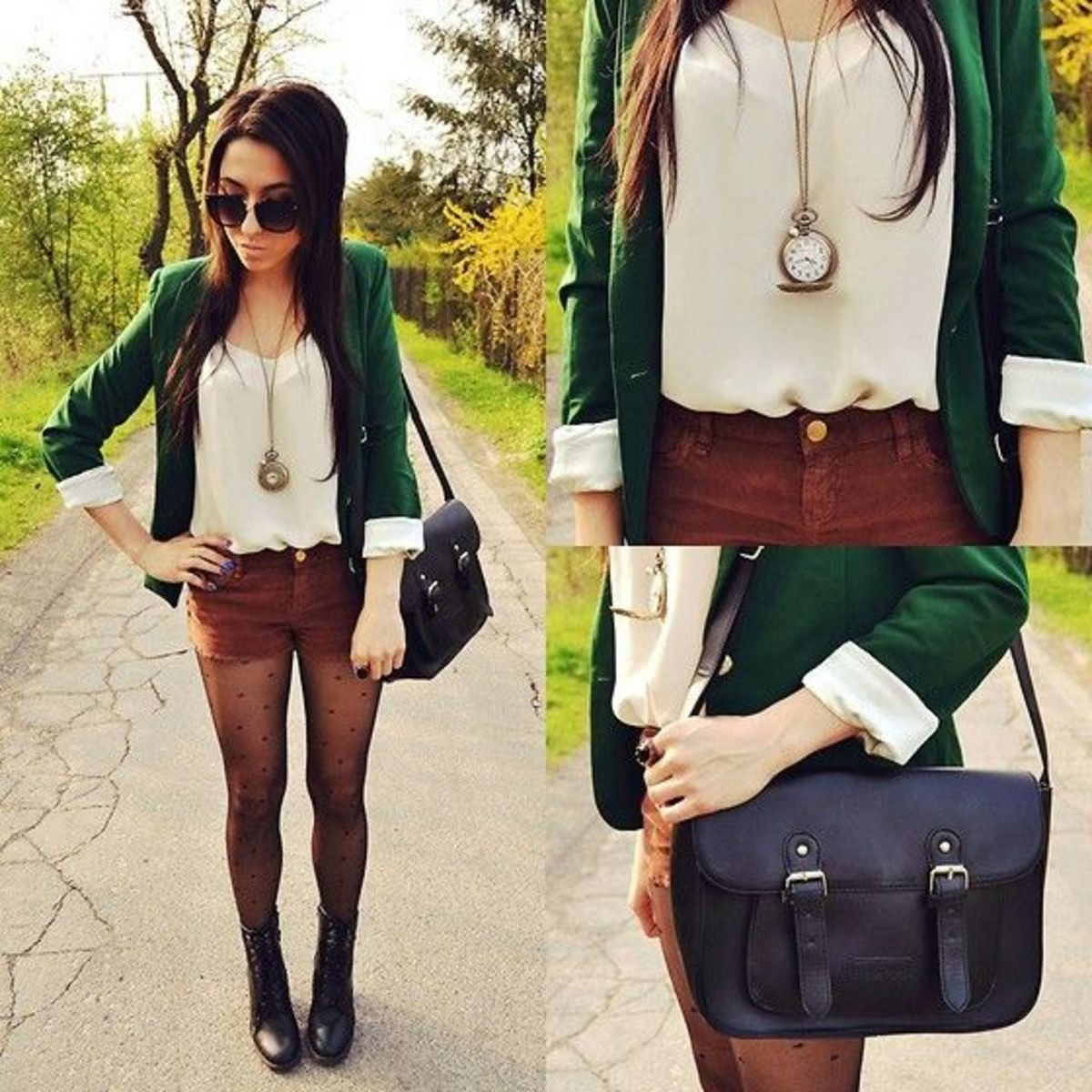 Emerald Blazer, Professional, Fashion, Fashion Forward, Fall, Winter, Corduroy Shorts, Printed Tights, Polka-dot Tights, Boots