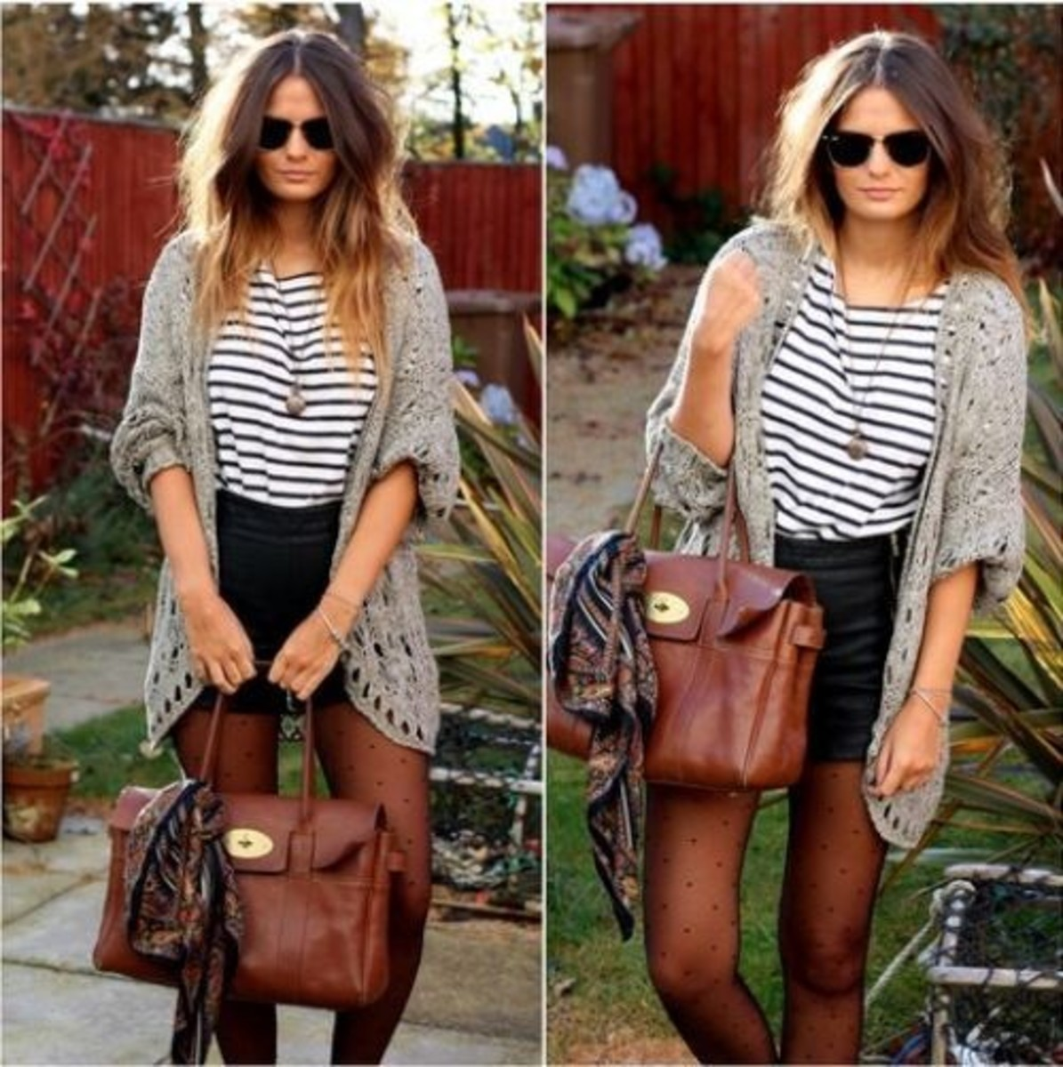 Tights, Shorts, Long Cardigan, Over-sized Cardigan, Stripes, Fashion, Printed Tights, Fall, Winter, Leather Shorts