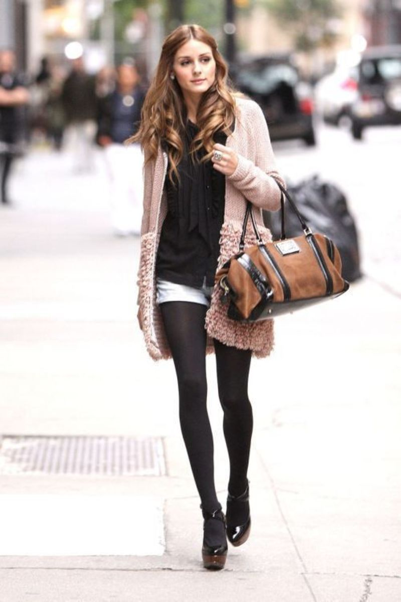 Feminine, Cardigan, Over-sized Cardigan, Shorts, Tights, Black Tights, Opaque Tights, Classy, Fashion, Fashion Forward, Fall, Winter, Olivia Pal