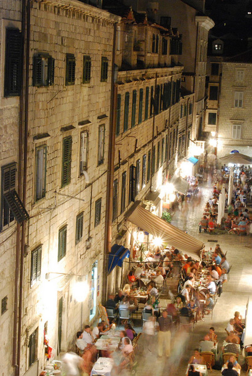 Night-time in the Old Town of Dubrovnik