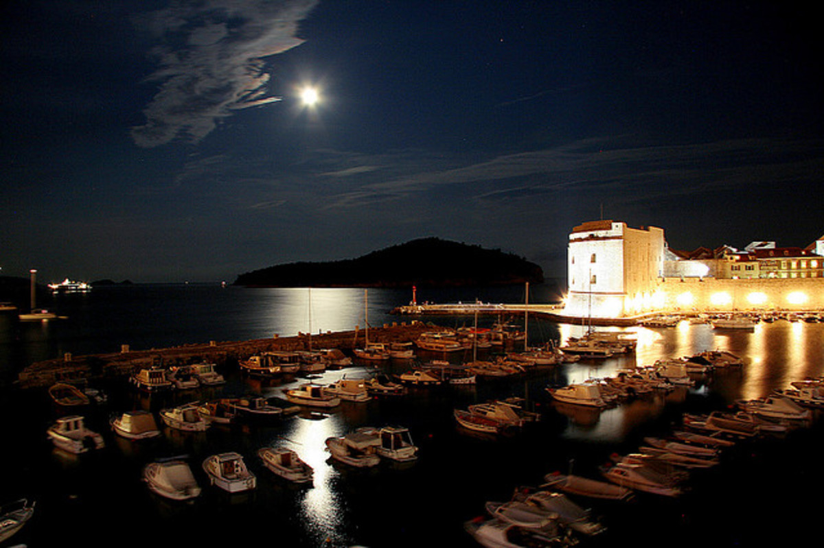 The harbour of Dubrovnik Old Town at night.
