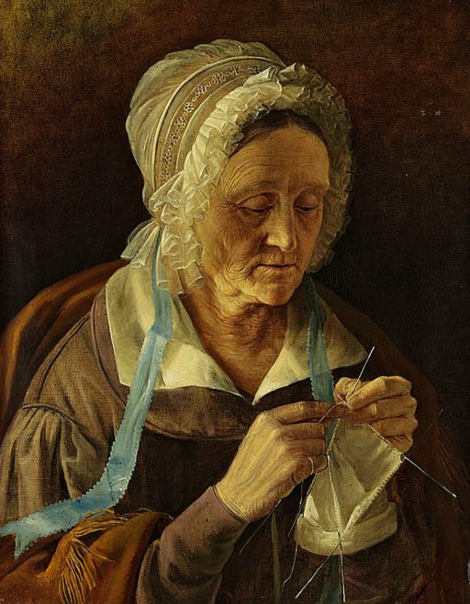 Painting of an old woman knitting a sock; people have actually been knitting socks since the time of the ancient Egyptians!