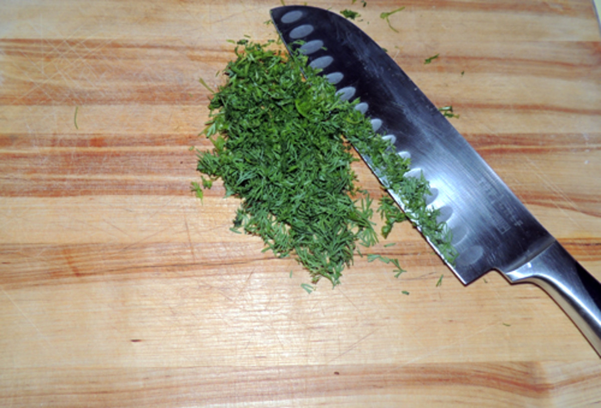 chop the dill fine--this is one herb it's okay to chop the stems up, too