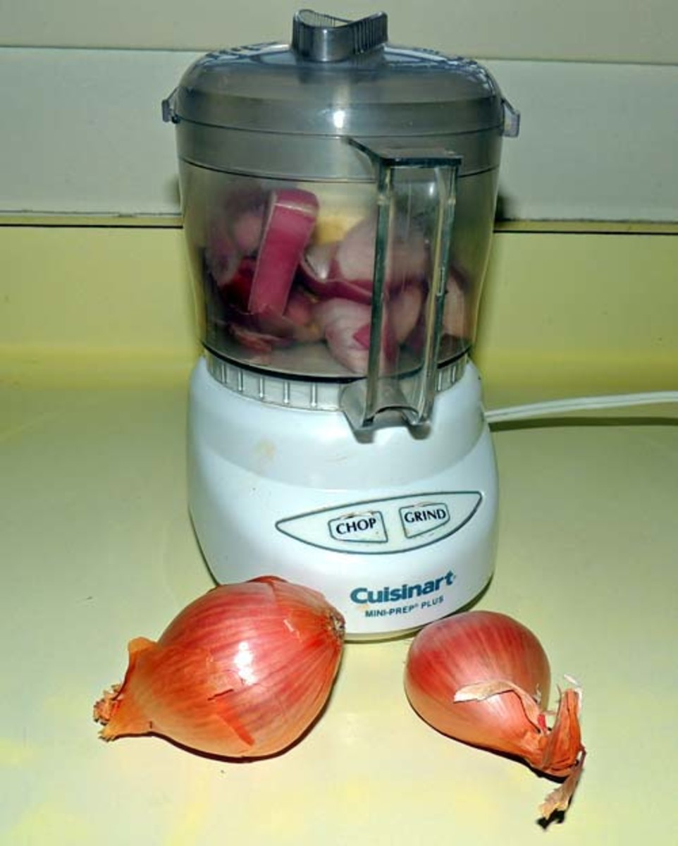 go ahead and food process the shallots to a dice; else dice them by hand