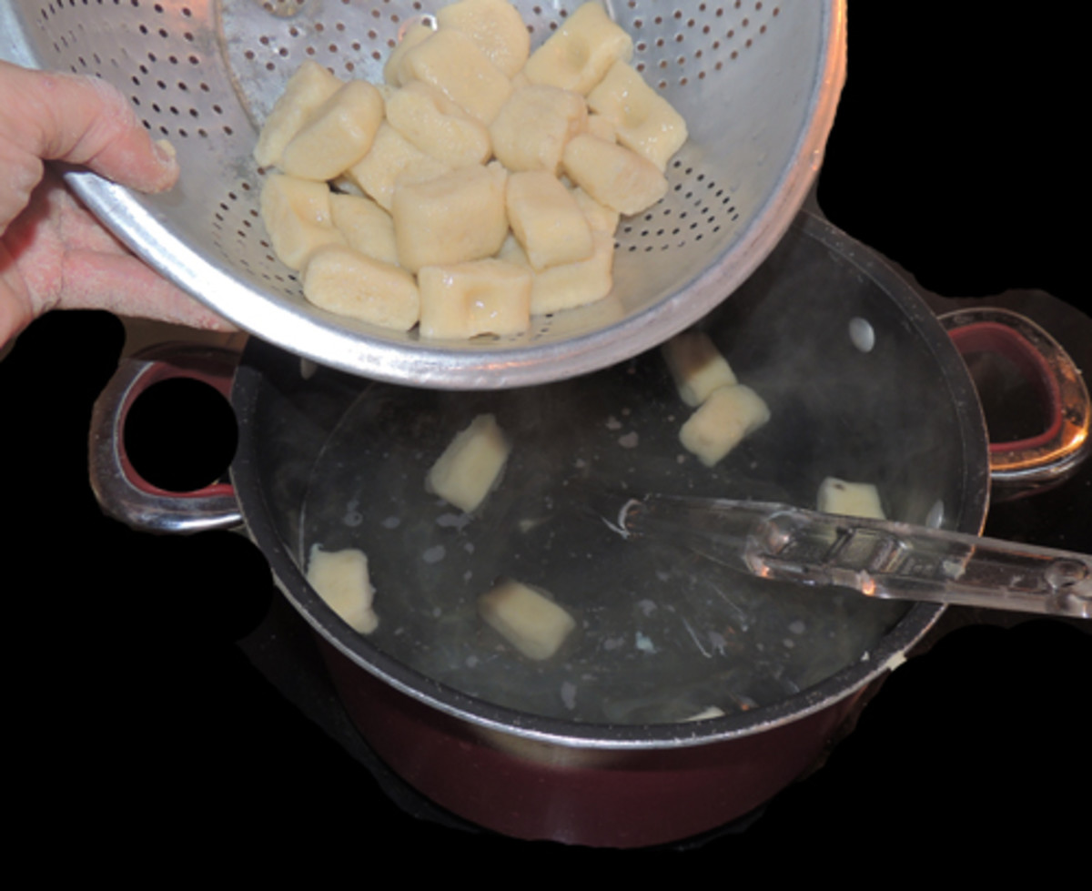 remove with slotted spoon, shake excess water gently from seive