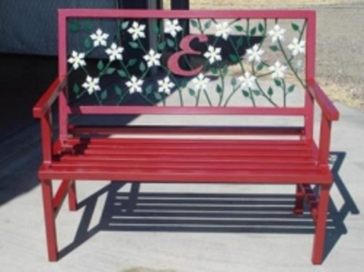 Hand made metal garden bench.