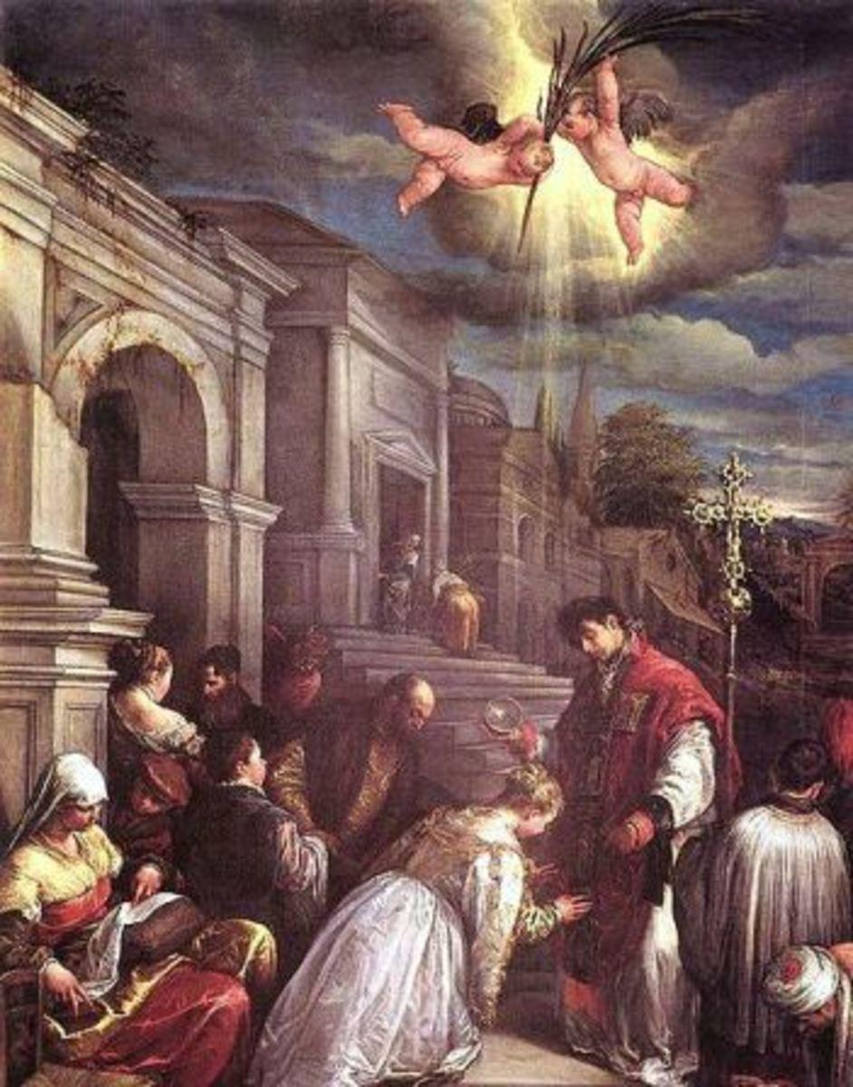 Saint Valentine Baptizing St. Lucilla by Jacopo Bassano; 1500s