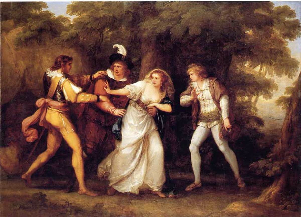 Valentine Rescues Silvia (in William Shakespeare's) 'The Two Gentlemen of Verona.' Painting by Angelica Kauffman; 1789