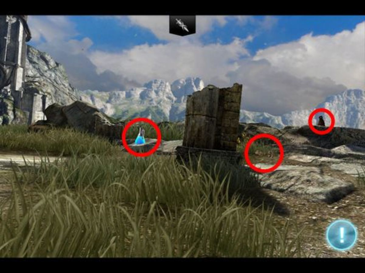 After Siris stops moving, pan right and check these three spots. Notice how camouflaged the key is, even in bright daylight quite close to you.