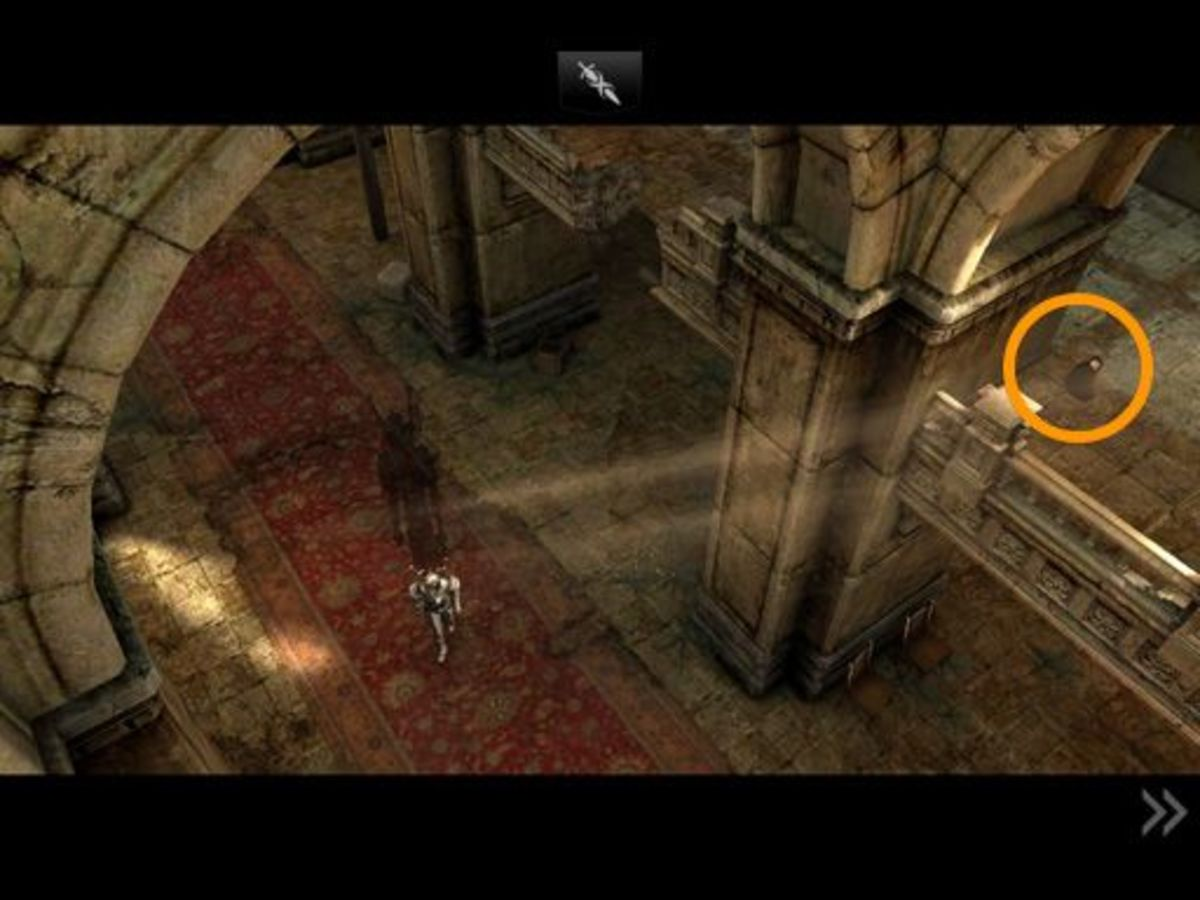 ...as Siris walks forward, this bag is briefly visible on the level above. You might be able to guess where it is once he halts, but grab it now.