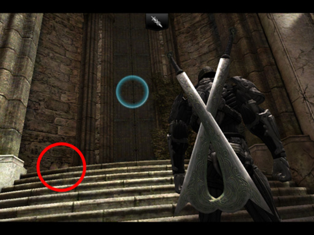Usually I head left to the Arena. But if you go straight up the main stairs, there may be a bag at the top, which was behind the fighter's hand...