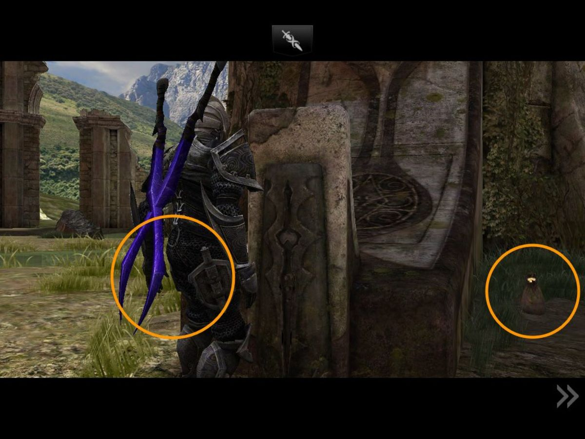 The two moneybags in the last shot are more visible if you step up to the Infinity Blade socket (but I haven't managed to screencap the left one.)
