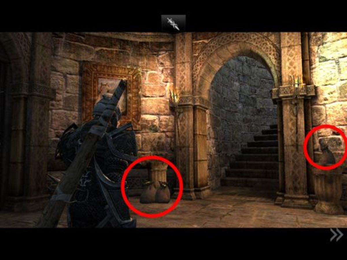 The open staircase leads up to the top of the tower. To Siris' left...