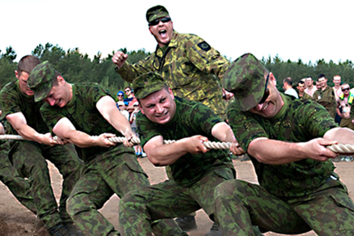 Lithuanian soldiers take part in a military tug of war competition in the City of Pabrade in Lithuania in 2013