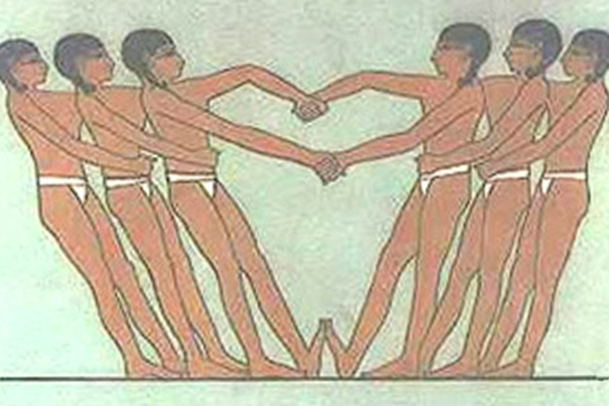 This picture shows artwork from an ancient tomb at Saqqara, Egypt. It depicts two teams of three men believed to be engaged in a ropeless version of tug of war