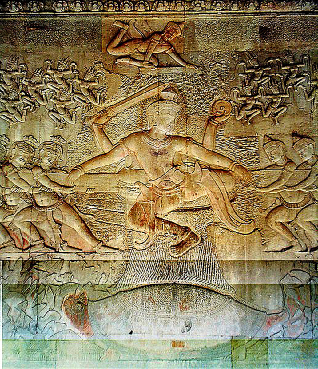 This bas-relief sculpture from Angkor Wat in Cambodia shows the God Vishnu. On either side are two rival groups of minor deities, the Asuras and the Devas, engaged in a battle, tugging on a long pole
