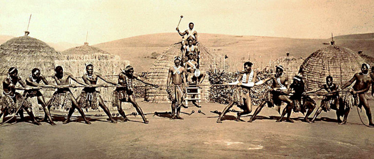 A tribal tug of war in Zululand, South Africa in the year 1903