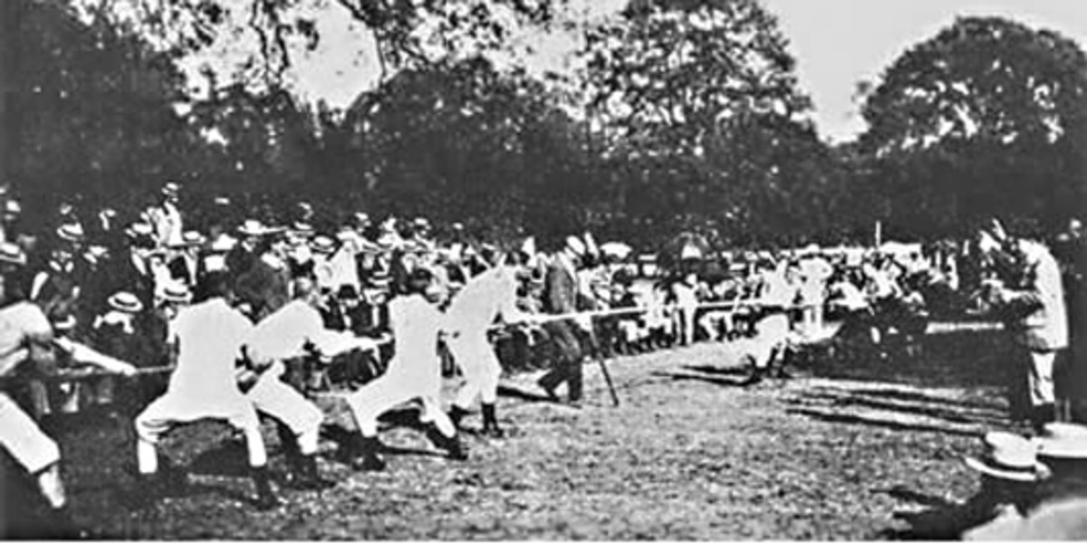 The historic first ever Olympic tug of war. A joint team from Denmark and Sweden pull against the French team in Paris in the year 1900