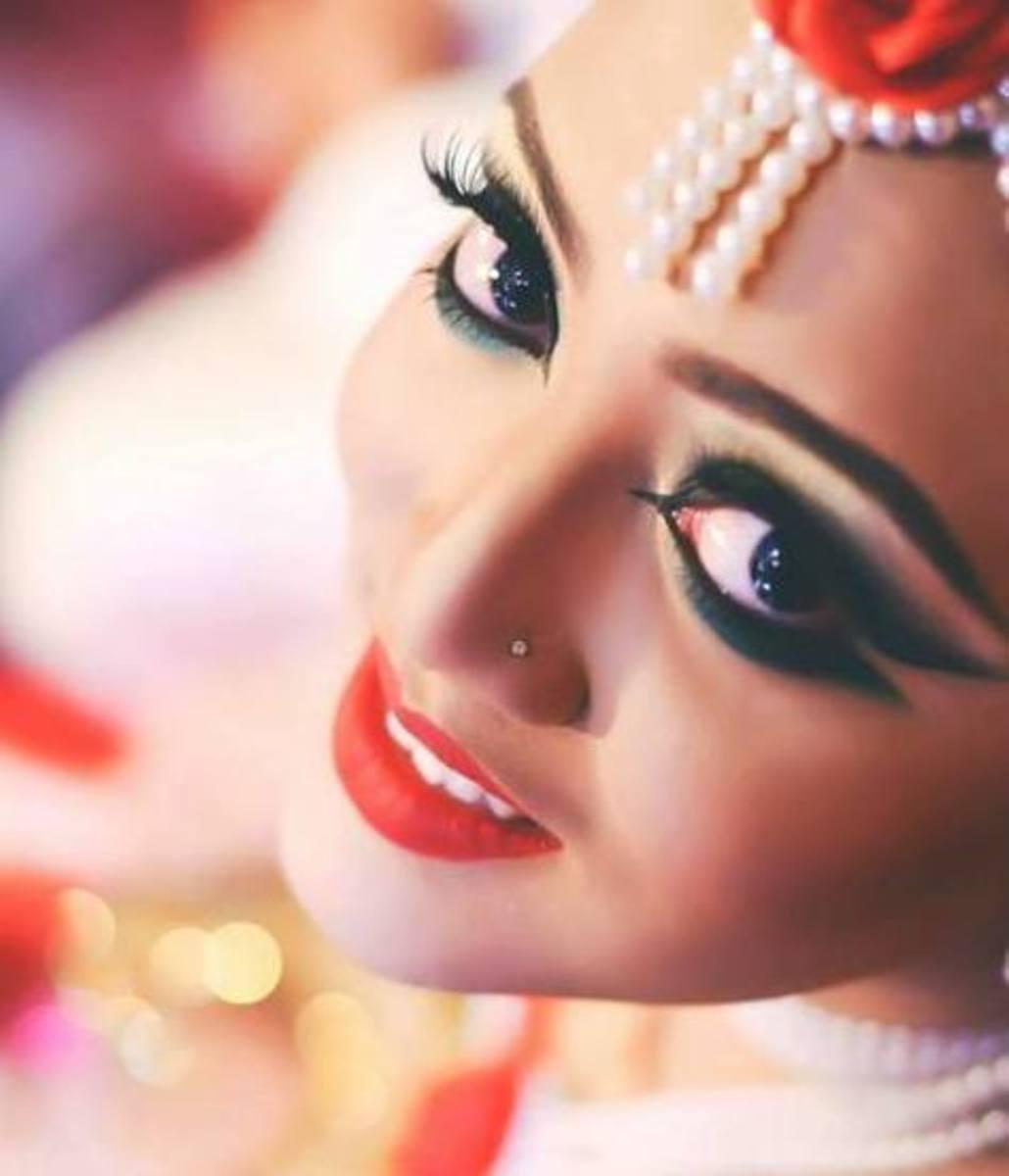 Zahid Khan's favourite bridal eye makeup with elongated winged eyeliner flicks.