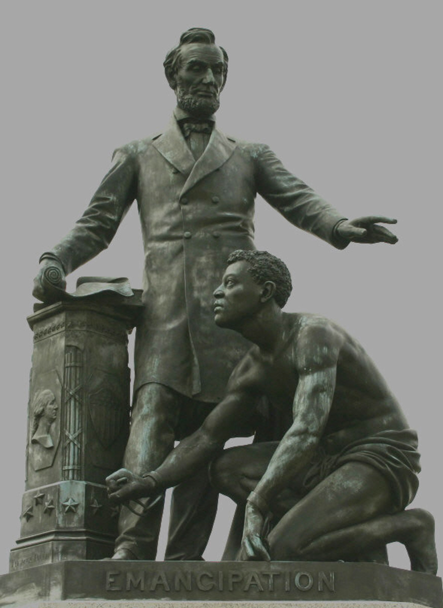Freedman's monument, first statue made in honor of Lincoln, the idea of a freed slave after hearing of Lincoln's assassination. The statue is also the first depiction of a prominent African-American, Archer Alexander, last slave to be captured.