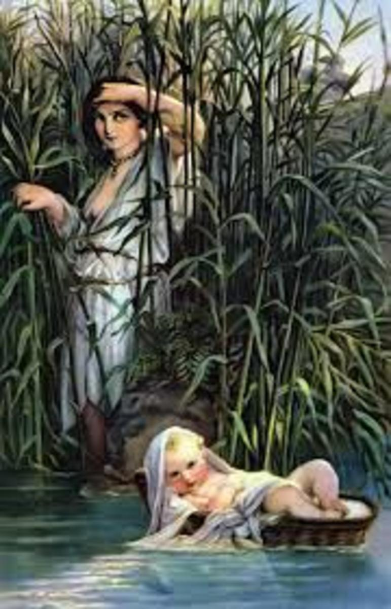 Moses as a baby found (depiction).