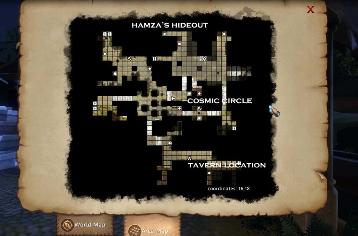 Might and Magic X Legacy Karthal Harbour District Map, showing the tavern, the Cosmic Circle and where to find Hamza