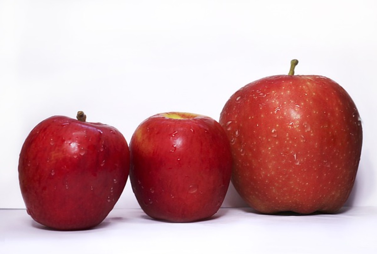 Three different variations of red apples
