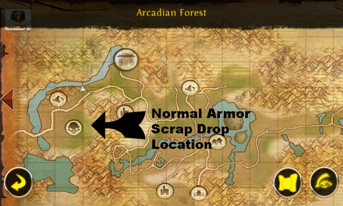 """OAC"" normal armor scraps location on a map."