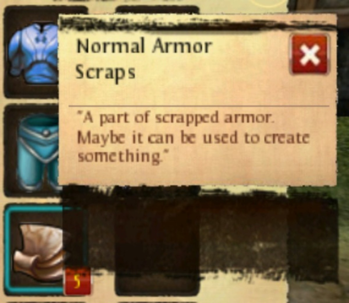 """Order and Chaos"" normal armor scraps used to improve your crafting."