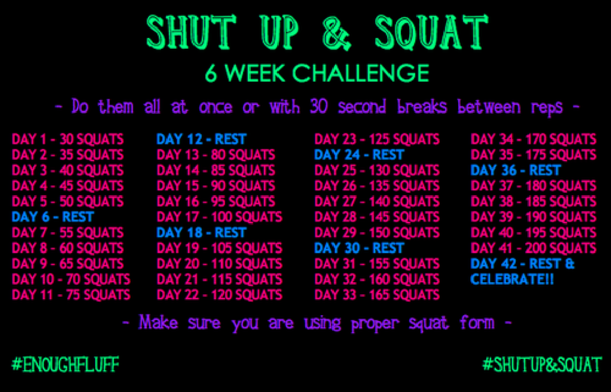 6 Week Shut Up & Squat Challenge Poster
