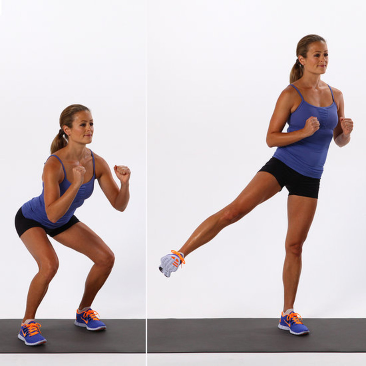 pretty brunette performing a squat and a leg lift both in perfect form with the back straight and shoulders back